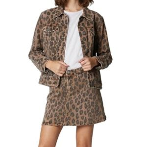 BlankNYC Leopard Print Catwalk Denim Jacket